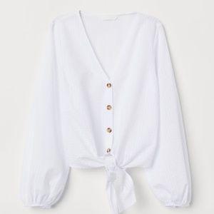 H&M Tops - Tie-hem Blouse